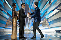 Lupita Nyong'o and Kumail Nanjiani present the Oscar&reg; for achievement in production design to  Paul Denham Austerberry for &quot;The Shape of Water&quot; during the live ABC Telecast of The 90th Oscars&reg; at the Dolby&reg; Theatre in Hollywood, CA on Sunday, March 4, 2018.<br /> *Editorial Use Only*<br /> CAP/PLF/AMPAS<br /> Supplied by Capital Pictures