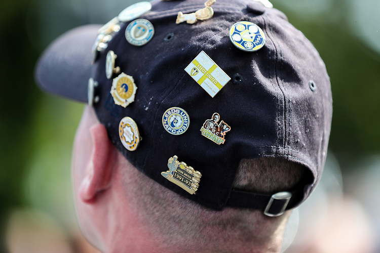 Badges on the hat of a Leeds United fan<br /> <br /> Photographer Alex Dodd/CameraSport<br /> <br /> The EFL Sky Bet Championship - Leeds United v Swansea City - Saturday 31st August 2019 - Elland Road - Leeds<br /> <br /> World Copyright © 2019 CameraSport. All rights reserved. 43 Linden Ave. Countesthorpe. Leicester. England. LE8 5PG - Tel: +44 (0) 116 277 4147 - admin@camerasport.com - www.camerasport.com