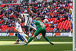 Lenell John-Lewis of Grimsby Town scores the opening goal against Bristol Rovers during the 2015 Vanarama Conference Promotion Final match between Grimsby Town and Bristol Rovers at Wembley Stadium, London<br /> Picture by David Horn/eXtreme aperture photography +44 7545 970036<br /> 17/05/2015