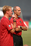 3 July 2004: MetroStars head coach Bob Bradley (right) with assistant Mo Johnston (left). DC United defeated the MetroStars 6-2 at RFK Stadium in Washington, DC during a regular season Major League Soccer game..