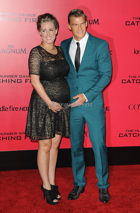 Alan Ritchson and wife arriving to 'The Hunger Game Catching Fire Premiere', Los Angeles, Ca. November 18, 2013.