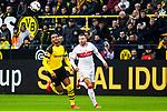 09.03.2019, Signal Iduna Park, Dortmund, GER, 1.FBL, Borussia Dortmund vs VfB Stuttgart, DFL REGULATIONS PROHIBIT ANY USE OF PHOTOGRAPHS AS IMAGE SEQUENCES AND/OR QUASI-VIDEO<br /> <br /> im Bild   picture shows:<br /> Manuel Akanji (Borussia Dortmund #16) mit Alexander Esswein (VfB Stuttgart #14), <br /> <br /> Foto &copy; nordphoto / Rauch
