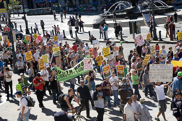 Rally for Unity & Solidarity with Muslim People on 11 September 2010, in New York City, New York, the 9th anniversary of the attacks on the World Trade Center and Pentagon.  In the midst of controversy over a mosque being developed near Ground Zero, an emergency mobilization against racism and anti-islamic bigotry was held.