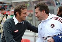 FUSSBALL   1. BUNDESLIGA  SAISON 2012/2013   8. Spieltag 1. FC Nuernberg - FC Augsburg       21.10.2012 Trainer Markus Weinzierl (li, FC Augsburg)  und Trainer Dieter Hecking (1 FC Nuernberg)