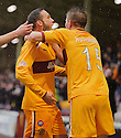 MOTHERWELL'S TOM HATELEY'S CELEBRATES AFTER HIS CORNER KICK DROPPED INTO THE NET FOR MOTHERWELL'S FIRST GOAL.