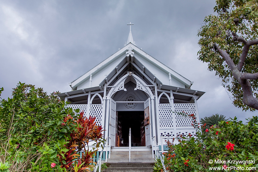 """Outside view of St. Benedict Roman Catholic Church aka """"The Painted Church"""", Captain Cook, Big Island, Hawaii"""