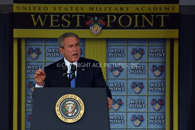 WWW.ACEPIXS.COM....May 30 2006, West Point, NY....President George W Bush attends the passing out parade  for newly commissioned Army Officers of the class of 2006 at the United States Military Academy, West Point. During his speech he told the young officers that the war (in Iraq) that started on his watch, would end on theirs.....Byline:  KRISTIN CALLAHAN - ACEPIXS.COM....For information please contact:....Philip Vaughan, 212 243 8787 or 646 769 0430..Email: info@acepixs.com..Web: WWW.ACEPIXS.COM