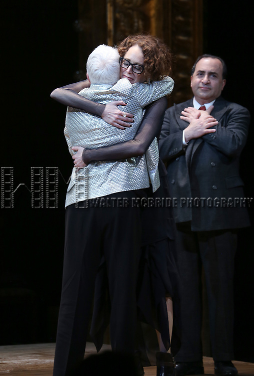 Paula Vogel, Rebecca Taichman and Steven Rattazzi during the Broadway Opening Night Performance Curtain Call Bows for  'Indecent' at The Cort Theatre on April 18, 2017 in New York City.