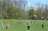 Participants fly kites during Kite Day Sunday April 24, 2016 at the Fonthill Museum in Doylestown, Pennsylvania. (Photo by William Thomas Cain/Cain Images)