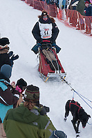 Musher # 54 Ken Anderson at the Restart of the 2009 Iditarod in Willow Alaska