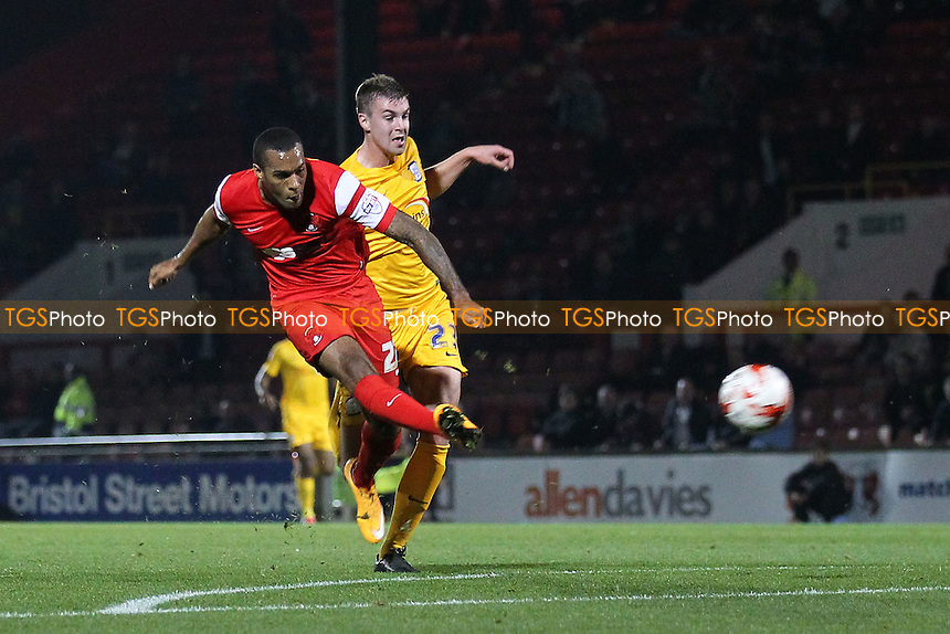 Jay Simpson of Leyton Orient fires in a shot on goal - Leyton Orient vs Preston North End - Sky Bet League One Football at Brisbane Road, Leyton, London - 28/10/14 - MANDATORY CREDIT: Gavin Ellis/TGSPHOTO - Self billing applies where appropriate - contact@tgsphoto.co.uk - NO UNPAID USE