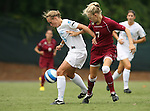 1 September 2007: North Carolina's Whitney Engen (9) and South Carolina's Blakely Mattern (7). The University of South Carolina Gamecocks defeated the University of North Carolina Tar Heels 1-0 at Fetzer Field in Chapel Hill, North Carolina in an NCAA Division I Womens Soccer game.