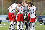 12 November 2008: Maryand's starters huddle before the game. The University of Maryland defeated the University of North Carolina 1-0 at Koka Booth Stadium at WakeMed Soccer Park in Cary, NC in a men's ACC tournament quarterfinal game.