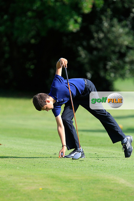 Luka Keyes (Glen of the Downes) on the 11th tee during the Irish Boys Under 13 Amateur Open Championship in Malahide Golf Club on Monday 11th August 2014.<br /> Picture:  Thos Caffrey / www.golffile.ie