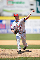 Richmond Flying Squirrels relief pitcher Matt Reynolds (46) delivers a pitch during a game against the Binghamton Mets on June 26, 2016 at NYSEG Stadium in Binghamton, New York.  Binghamton defeated Richmond 7-2.  (Mike Janes/Four Seam Images)