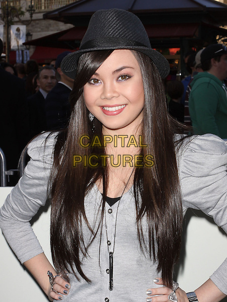 """ANA MARIA PEREZ DE TAGLE.""""The Perfect Game"""" Los Angeles Premiere held At The Pacific Theaters at the Grove, Los Angeles, California, USA..April 5th, 2010.half length black grey gray shoulder pads dress hands on hips anna hat.CAP/ADM/KB.©Kevan Brooks/AdMedia/Capital Pictures."""
