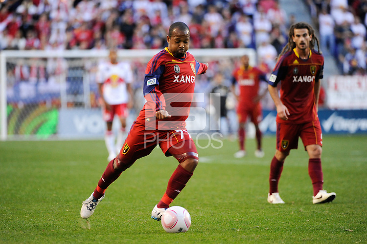 Andy Williams (77) of Real Salt Lake. The New York Red Bulls and Real Salt Lake played to a 0-0 tie during a Major League Soccer (MLS) match at Red Bull Arena in Harrison, NJ, on October 09, 2010.