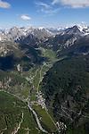 Vue a&eacute;rienne du nord du Queyras avec la vall&eacute;e d'Arvieux et le col de l'Izoard<br /> Aerial view of the north of Queyeas. Arvieux Valley leading to Izoard Pass.