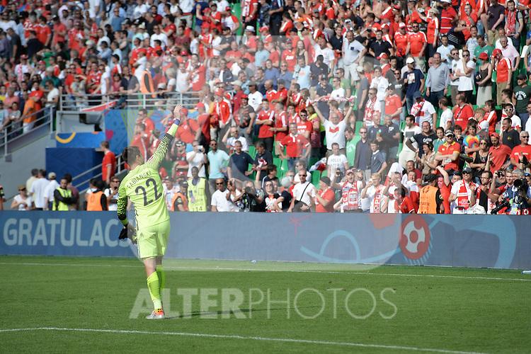 Joie de Lukasz Fabianski (pologne) devant les supporters