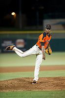 AZL Giants relief pitcher Camilo Doval (17) follows through on his delivery against the AZL Athletics on August 5, 2017 at Scottsdale Stadium in Scottsdale, Arizona. AZL Athletics defeated the AZL Giants 2-1. (Zachary Lucy/Four Seam Images)