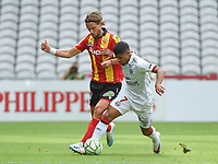20190803 - LENS , FRANCE : Lens' Guillaume Gillet (L) and Guingamp's Ludovic Blas (R) pictured during the soccer match between Racing Club de LENS and En Avant Guingamp , on the second matchday in the French Dominos pizza Ligue 2 at the Stade Bollaert Delelis stadium , Lens . Saturday 3 th August 2019 . PHOTO DIRK VUYLSTEKE | SPORTPIX.BE