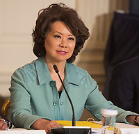 Secretary of Transportation Elaine Chao participates in a meeting with state and local officials regarding the Trump infrastructure plan, February 12, 2018 at The White House in Washington, DC. <br /> CAP/MPI/CNP/RS<br /> &copy;RS/CNP/MPI/Capital Pictures