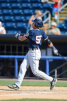 Connecticut Tigers second baseman Dominic Ficociello #55 hits a home run during a game against the Staten Island Yankees on July 7, 2013 at Richmond County Bank Ballpark in Staten Island, New York.  Staten Island defeated Connecticut 6-2.  (Mike Janes/Four Seam Images)
