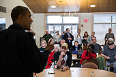 United States President Barack Obama talks with local residents at the Brigantine Beach Community Center, which is serving as a shelter for those displaced by Hurricane Sandy, in Brigantine, New Jersey, Wednesday, October 31, 2012. .Mandatory Credit: Pete Souza - White House via CNP