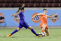 Houston, TX - Saturday June 17, 2017: Cari Roccaro attempts to steal the ball from Marta Vieira Da Silva during a regular season National Women's Soccer League (NWSL) match between the Houston Dash and the Orlando Pride at BBVA Compass Stadium.