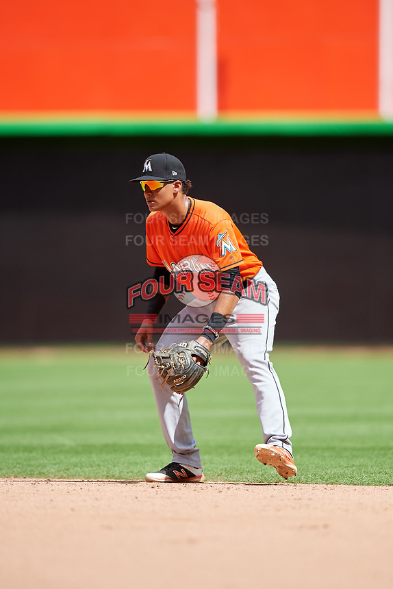 Miami Marlins Walner Espinal (90) during a Florida Instructional League game against the Washington Nationals on September 26, 2018 at the Marlins Park in Miami, Florida.  (Mike Janes/Four Seam Images)