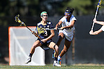 DURHAM, NC - FEBRUARY 26: Notre Dame's Nikki Ortega (3) and Duke's Michelle Staggers (31). The Duke University Blue Devils hosted the University of Notre Dame Fighting Irish on February, 26, 2017, at Koskinen Stadium in Durham, NC in a Division I College Women's Lacrosse match. Notre Dame won the game 12-11.