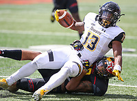 College Park, MD - September 9, 2017: Towson Tigers running back Shane Simpson (13) gets tackled during game between Towson and Maryland at  Capital One Field at Maryland Stadium in College Park, MD.  (Photo by Elliott Brown/Media Images International)