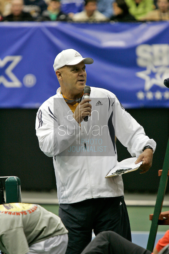 Wayne Bryan, father and coach of top tennis stars Bob and Mike Bryan, emcees The FedEx Shootout Atlanta at Kennesaw State University on Saturday, Dec. 9, 2006.