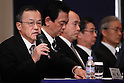 December 15, 2011, Tokyo, Japan - Shuichi Takayama, left, president of Japans Olympus Corp., speaks during a news conference in Tokyo on Thursday, December 15, 2011. Takayama said the scandal-hit company would aim to hold an extraordinary shareholder meeting in March or April in the wake of demands by foreign investors to overhaul management following the discovery of an accounting fraud. The 92-year-old camera and endoscope maker submitted its overdue revised earnings statement to the Financial Services Agency three hours before the deadline Wednesday to avoid being axed from the Tokyo Stock Exchange. For the April to September quarter, the company booked a net loss of $413 million against a year-earlier profit of $38 million due mainly to one-time losses caused by market deterioration, Thai floods and a decline in the book value of its business assets. Olympus delayed the filing pending the findings of an independent investigation into schemes that used inflated payments for acquisitions to hide about $1.5 billion in losses from the 1990s. (Photo by Natsuki Sakai/AFLO) [3615] -mis-