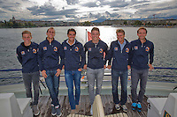Swiss, Genève, September 14, 2015, Tennis,   Davis Cup, Swiss-Netherlands, Dutch team on a boat trip, ltr: Tallon Griekspoor, Thiemo de Bakker, Jesse Huta Galung, Tim van Rijthoven , captain Jan Siemerink and Matwe Midelkoop<br />