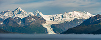 Panorama of Mt Gilbert,  Chugach mountains, Cascade glacier, Chugach National Forest, Prince William Sound, southcentral, Alaska.