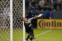 CARSON, CA - November 6, 2011: Real Salt Lake goalie Nick Rimando (18) watches Mike Magee's goal kick go past during the match between LA Galaxy and Real Salt Lake at the Home Depot Center in Carson, California. Final score LA Galaxy 3, Real Salt Lake 1.