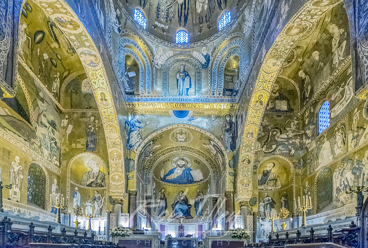 Europe, Italy, Sicily, Palermo, Palatine Chapel commissioned by Norman King Roger II and completed in the 12th Century