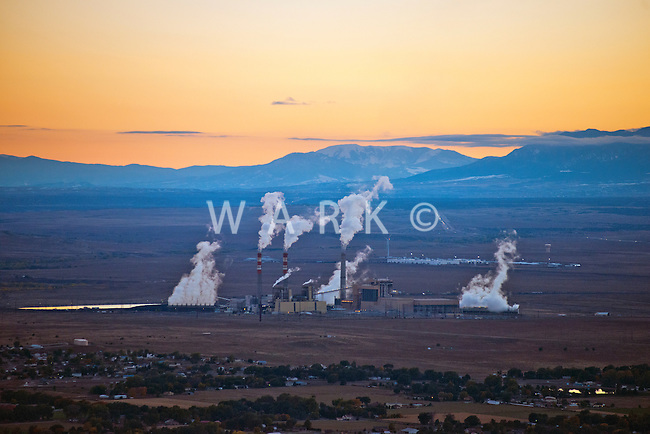 Comanche power plant at dusk, Pueblo, Colorado. Oct 2013