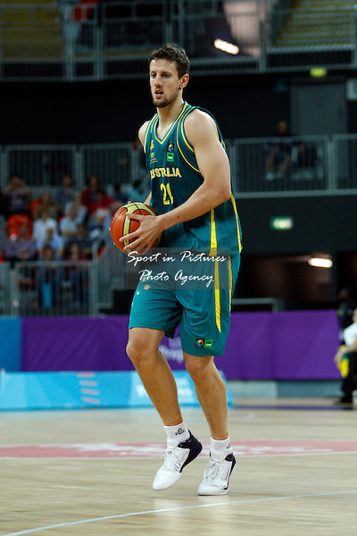 Peter Crawford (Australia) in action. France v Australia. The London International Basketball Invitational. London Prepares for Olympics 2012. Basketball Arena, Olympic Park. London. 17/08/2011. MANDATORY Credit Sportinpictures/Paul Chesterton - NO UNAUTHORISED USE - 07837 394578.