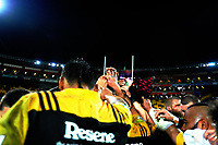The Hurricanes huddle after winning the Super Rugby match between the Hurricanes and Crusaders at Westpac Stadium in Wellington, New Zealand on Saturday, 15 July 2017. Photo: Dave Lintott / lintottphoto.co.nz