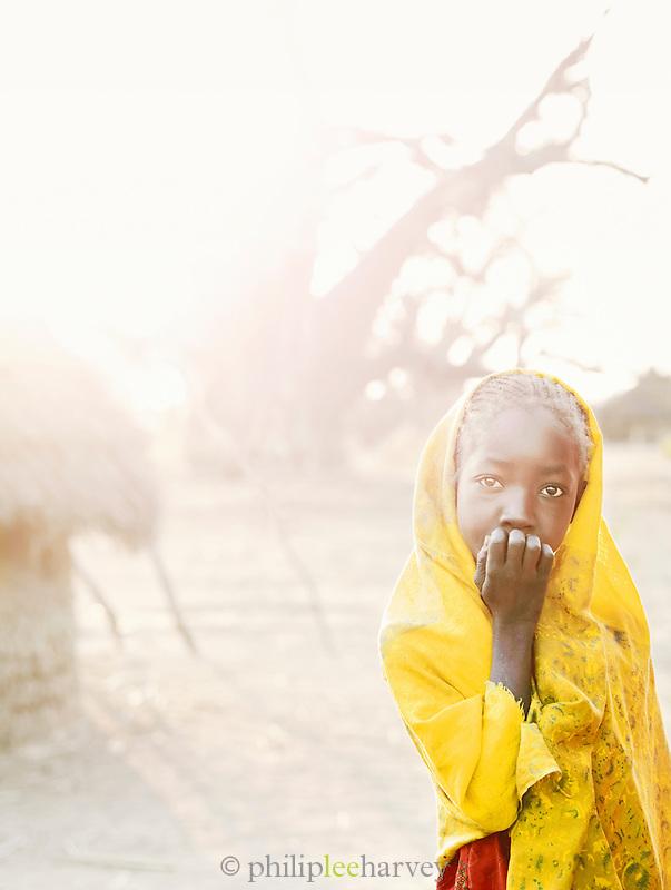 Young girl of the Nuba tribe in the village of Nyaro, Kordofan region, Sudan