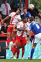 Jon Ashton of Stevenage heads clear from Adam Rooney of Oldham<br />  Stevenage v Oldham Athletic - Sky Bet League 1 - Lamex Stadium, Stevenage - 3rd August, 2013<br />  © Kevin Coleman 2013