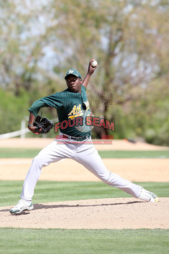 Pedro Figueroa, Oakland Athletics 2010 minor league spring training..Photo by:  Bill Mitchell/Four Seam Images.