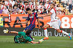 Barcelona´s Munir in front of Rayo Vallecano´s goalkeeper Tono and Morcillo during La Liga match between Rayo Vallecano and Barcelona at Vallecas stadium in Madrid, Spain. October 04, 2014. (ALTERPHOTOS/Victor Blanco)
