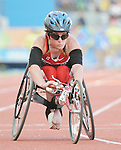 November 17 2011 - Guadalajara, Mexico:  Christy Campbell preparing for the Women's 100m - T34 final in the Telmex Athletic's Stadium at the 2011 Parapan American Games in Guadalajara, Mexico.  Photos: Matthew Murnaghan/Canadian Paralympic Committee