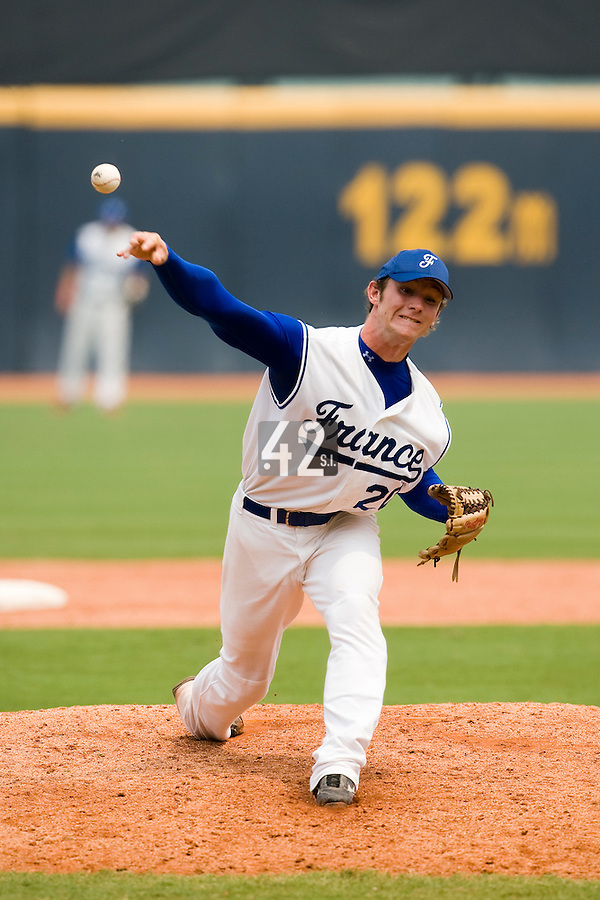 19 August 2007: Pitcher #20 Gregory Cros pitches during the Japan 4-3 victory over France in the Good Luck Beijing International baseball tournament (olympic test event) at the Wukesong Baseball Field in Beijing, China.