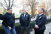 TUKWILA, WA - NOVEMBER 08: Tony Meola of SiriusXM and Garth Lagerwey and Chris Henderson of the Seattle Sounders FC talk outside of training at Starfire Sports Complex on November 08, 2019 in Tukwila, Washington.