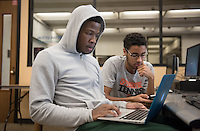 Jacques Lesure '19 and Isa Kibira '18 study in the Academic Commons during finals week, Dec. 9, 2015.<br />