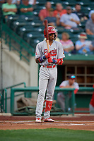 Peoria Chiefs Delvin Perez (32) during a Midwest League game against the Fort Wayne TinCaps on July 17, 2019 at Parkview Field in Fort Wayne, Indiana.  Fort Wayne defeated Peoria 6-2.  (Mike Janes/Four Seam Images)